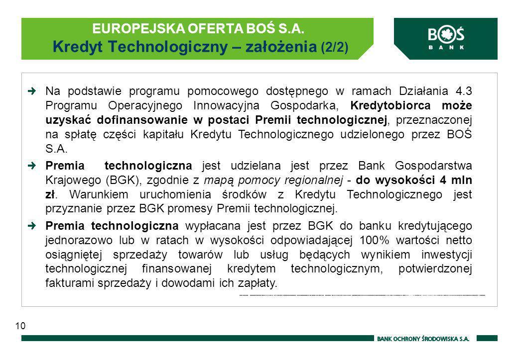EUROPEJSKA OFERTA BOŚ S.A. Kredyt Technologiczny – założenia (2/2)