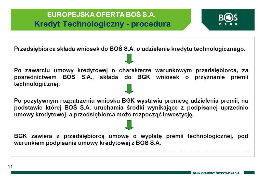 EUROPEJSKA OFERTA BOŚ S.A. Kredyt Technologiczny - procedura