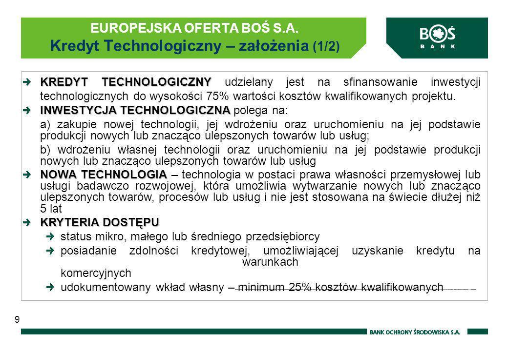 EUROPEJSKA OFERTA BOŚ S.A. Kredyt Technologiczny – założenia (1/2)