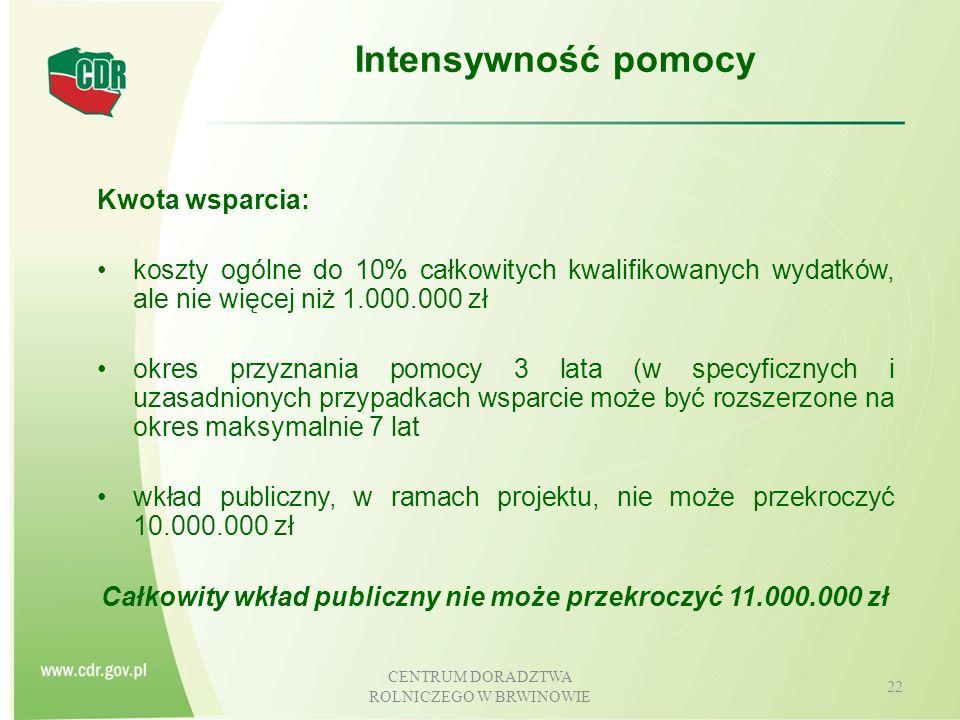 Całkowity wkład publiczny nie może przekroczyć 11.000.000 zł