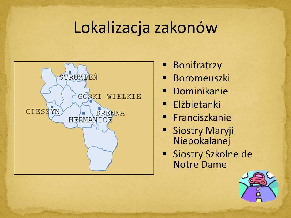 Lokalizacja zakonów Bonifratrzy Boromeuszki Dominikanie Elżbietanki