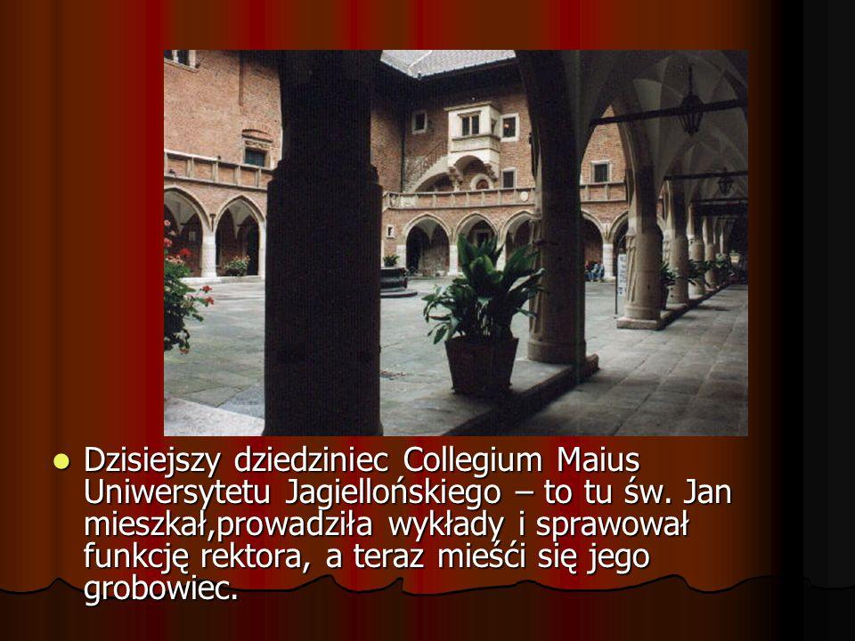 Dzisiejszy dziedziniec Collegium Maius Uniwersytetu Jagiellońskiego – to tu św.