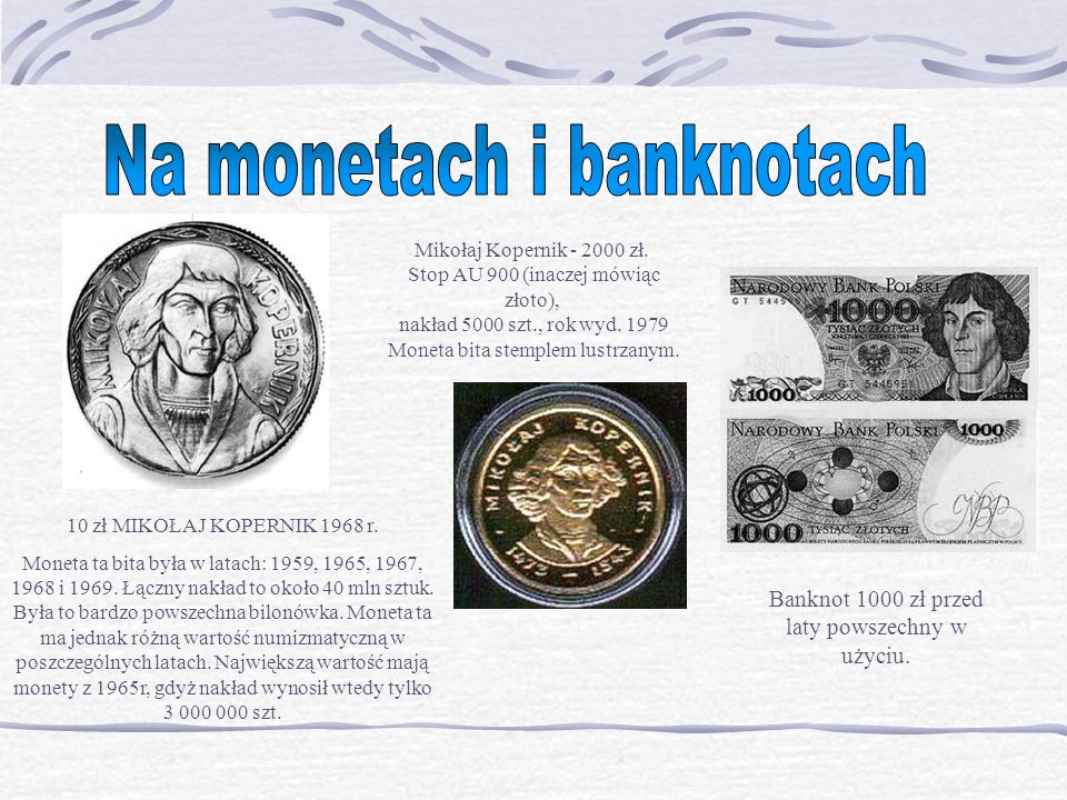 Na monetach i banknotach
