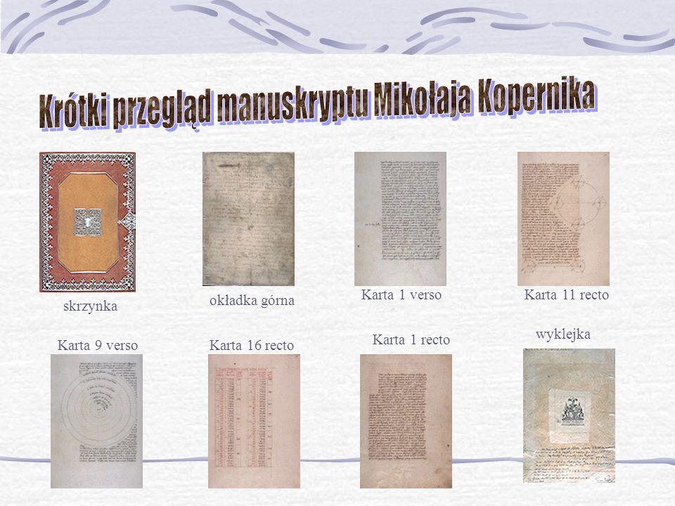 Krótki przegląd manuskryptu Mikołaja Kopernika