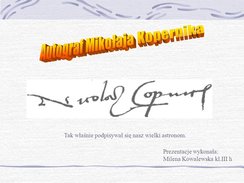 Autograf Mikołaja Kopernika