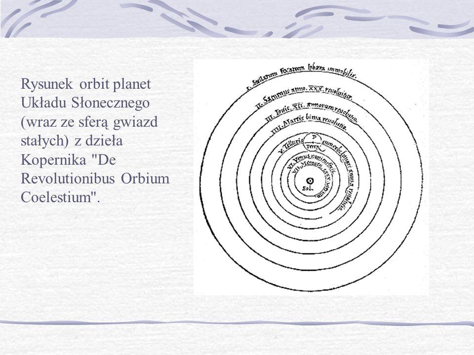 Rysunek orbit planet Układu Słonecznego (wraz ze sferą gwiazd stałych) z dzieła Kopernika De Revolutionibus Orbium Coelestium .