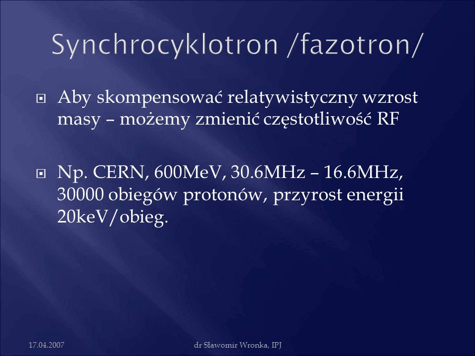 Synchrocyklotron /fazotron/