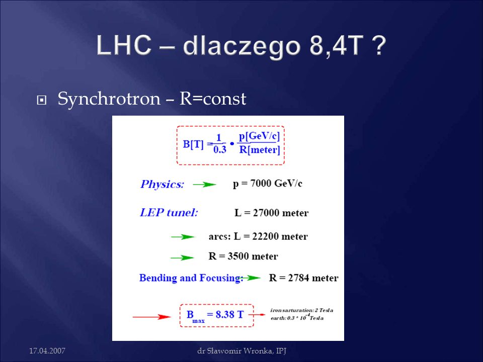 LHC – dlaczego 8,4T Synchrotron – R=const 17.04.2007