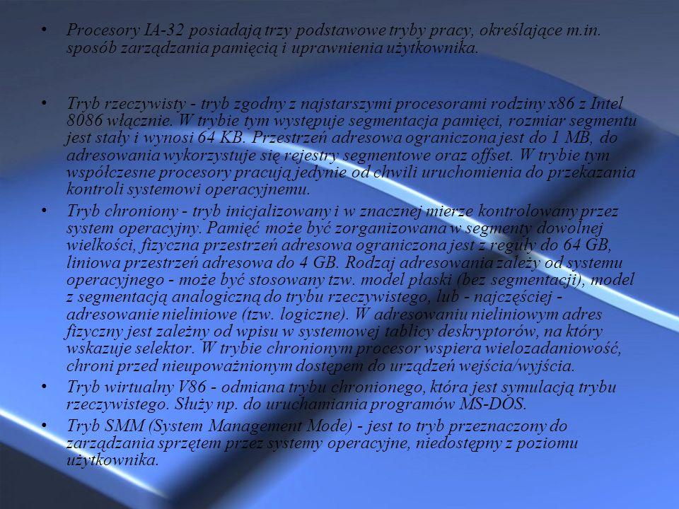 Procesory IA-32 posiadają trzy podstawowe tryby pracy, określające m