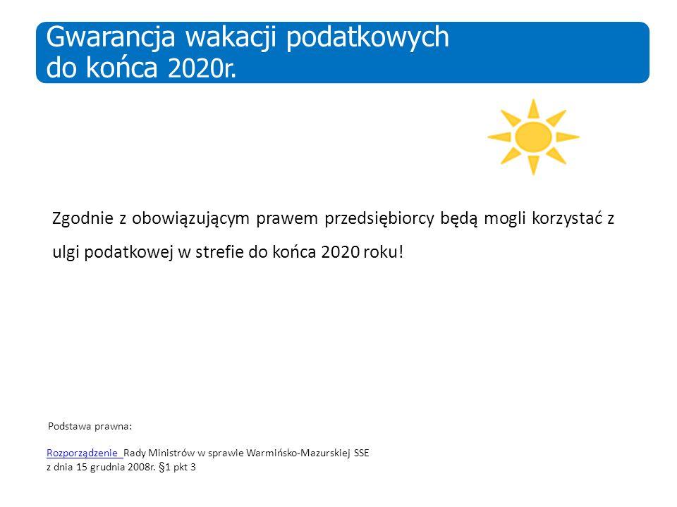 Gwarancja wakacji podatkowych do końca 2020r.