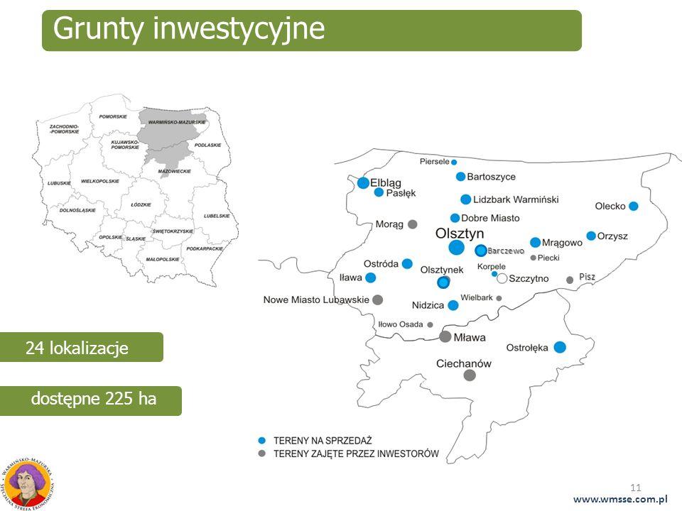 Grunty inwestycyjne 24 lokalizacje dostępne 225 ha www.wmsse.com.pl