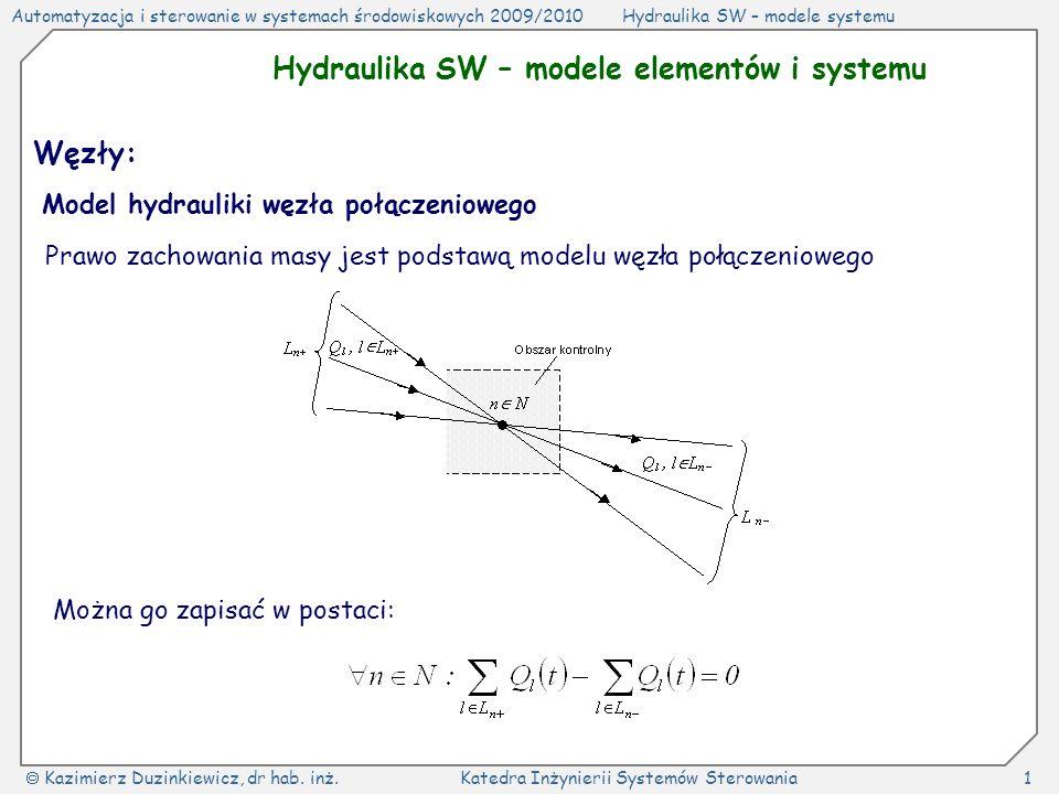 Hydraulika SW – modele elementów i systemu