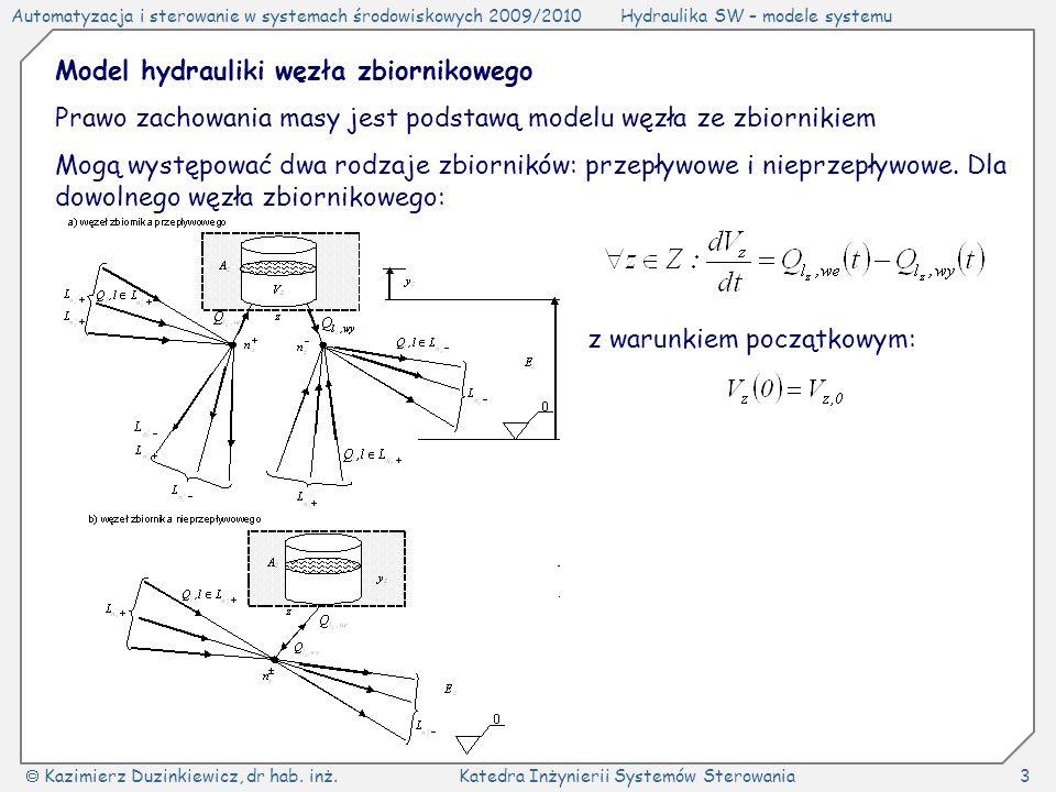 Model hydrauliki węzła zbiornikowego