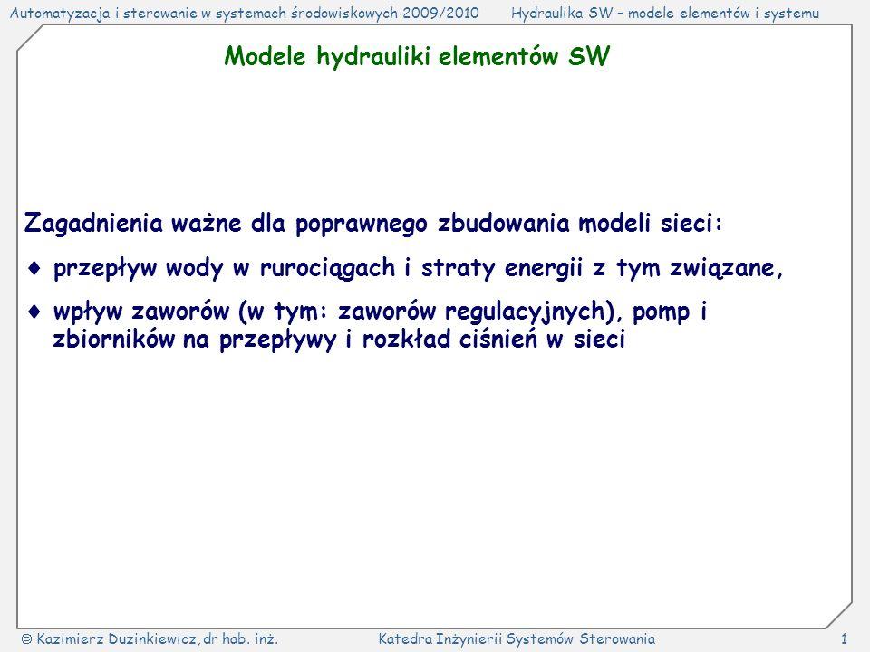 Modele hydrauliki elementów SW