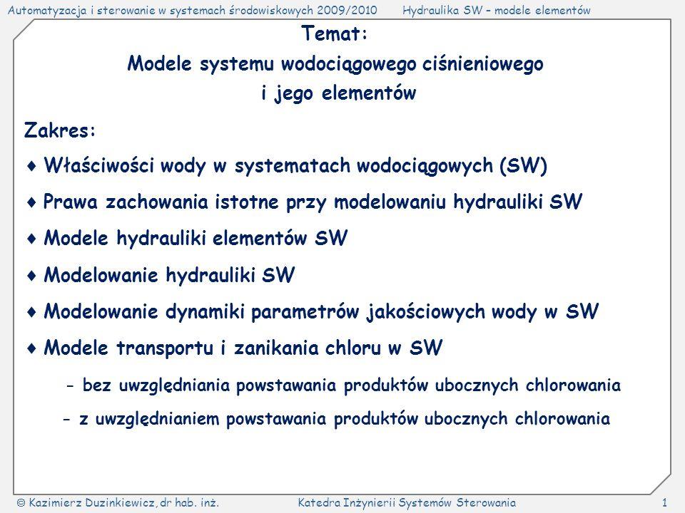 Modele systemu wodociągowego ciśnieniowego