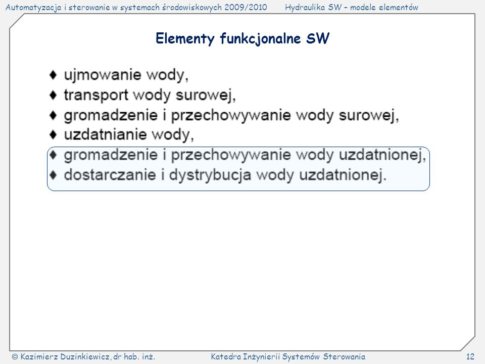 Elementy funkcjonalne SW