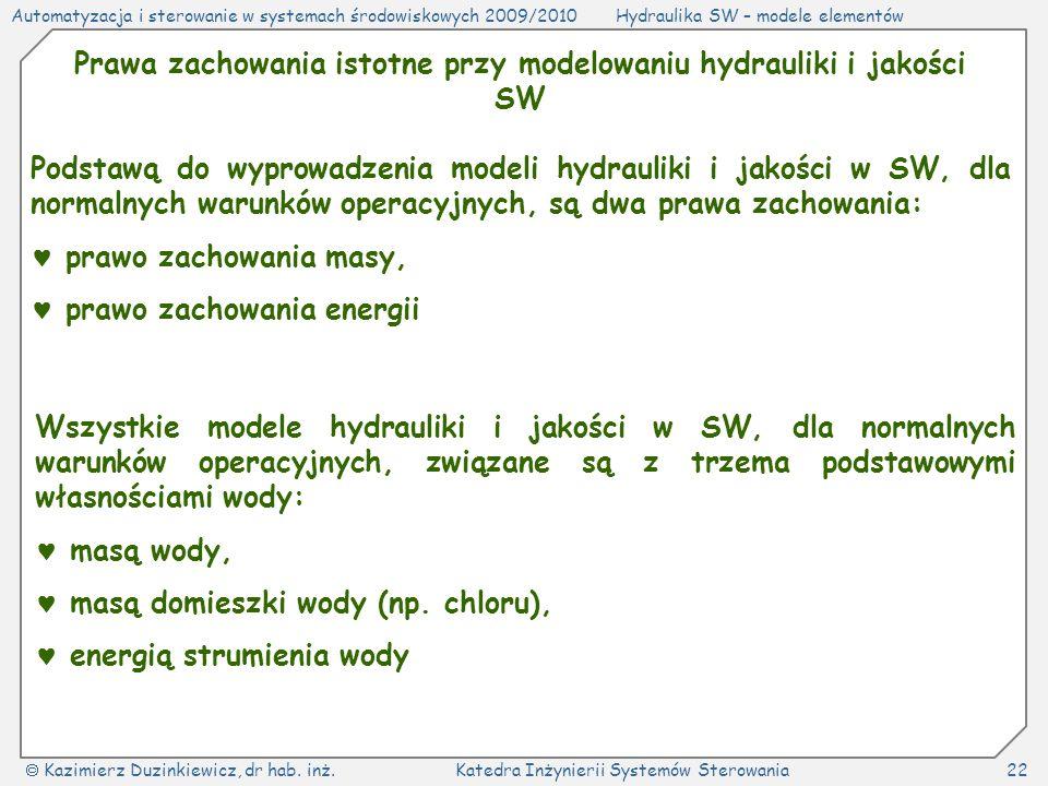 Prawa zachowania istotne przy modelowaniu hydrauliki i jakości SW