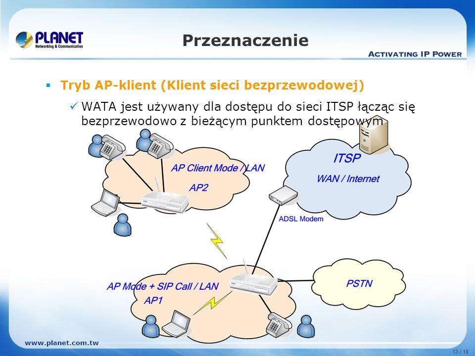 Przeznaczenie Tryb AP-klient (Klient sieci bezprzewodowej)