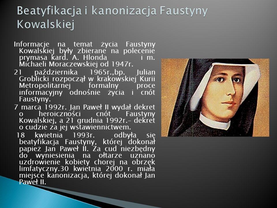 Beatyfikacja i kanonizacja Faustyny Kowalskiej