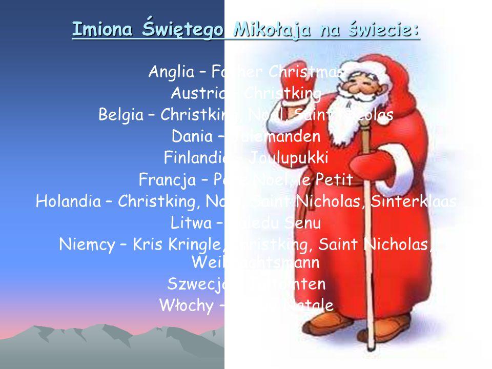 Imiona Świętego Mikołaja na świecie: