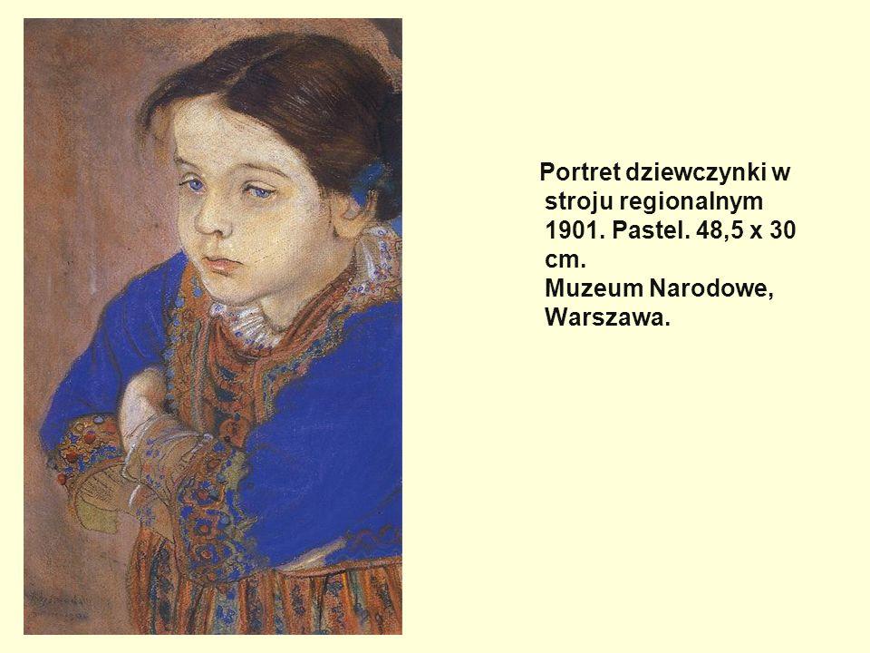 Portret dziewczynki w stroju regionalnym 1901. Pastel. 48,5 x 30 cm