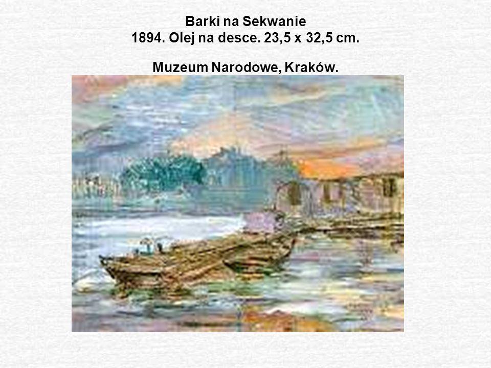 Barki na Sekwanie 1894. Olej na desce. 23,5 x 32,5 cm
