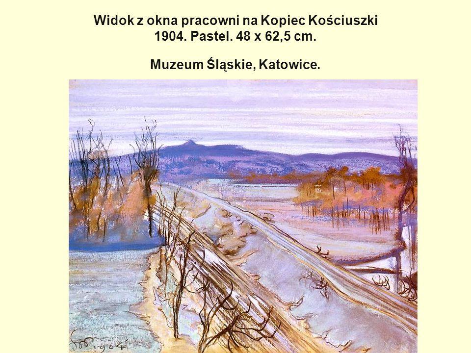 Widok z okna pracowni na Kopiec Kościuszki 1904. Pastel. 48 x 62,5 cm
