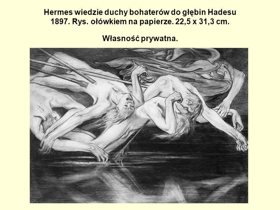 Hermes wiedzie duchy bohaterów do głębin Hadesu 1897. Rys