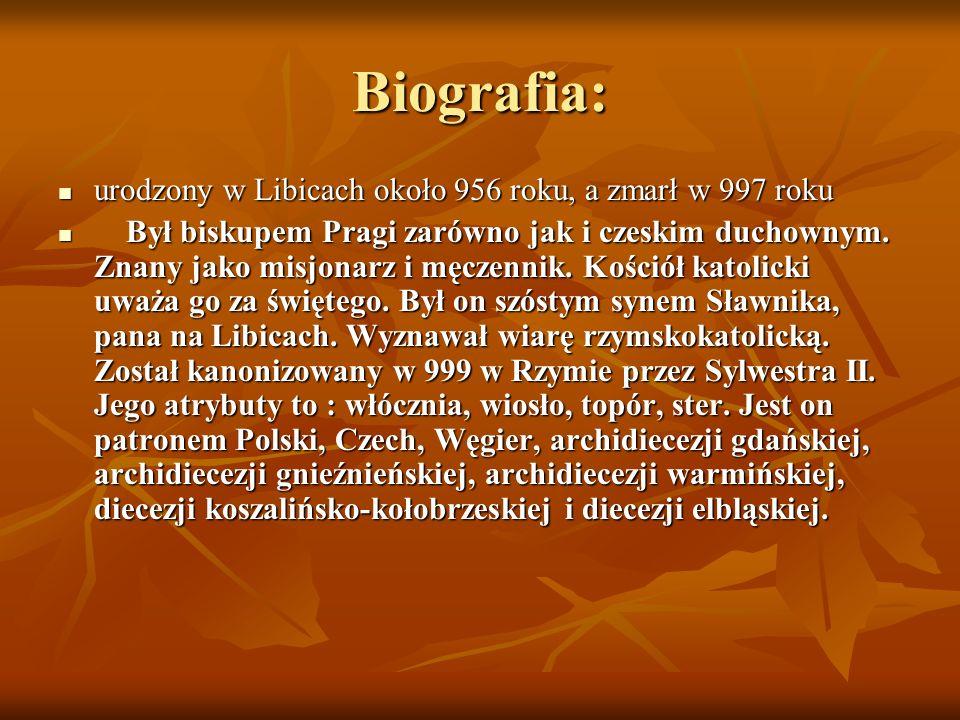 Biografia: urodzony w Libicach około 956 roku, a zmarł w 997 roku