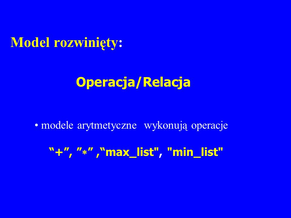 Model rozwinięty: Operacja/Relacja