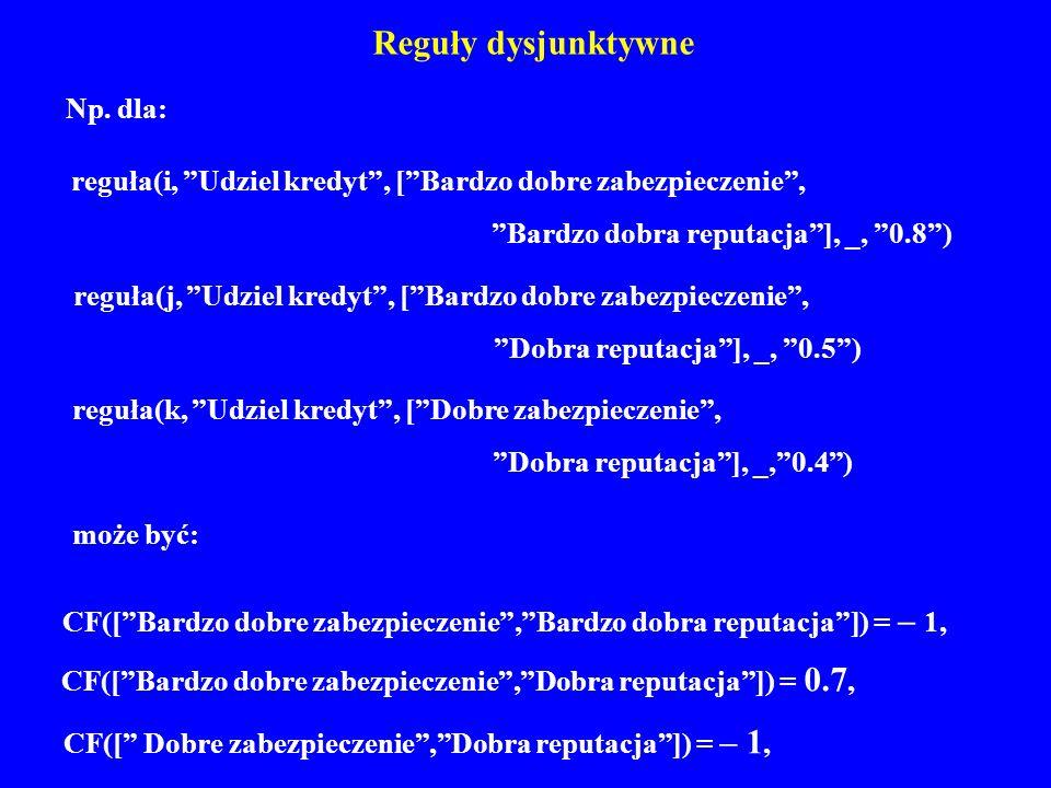 Reguły dysjunktywne Np. dla: