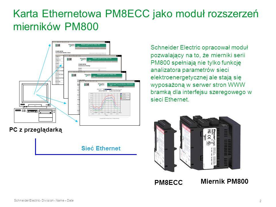 Karta Ethernetowa PM8ECC jako moduł rozszerzeń mierników PM800