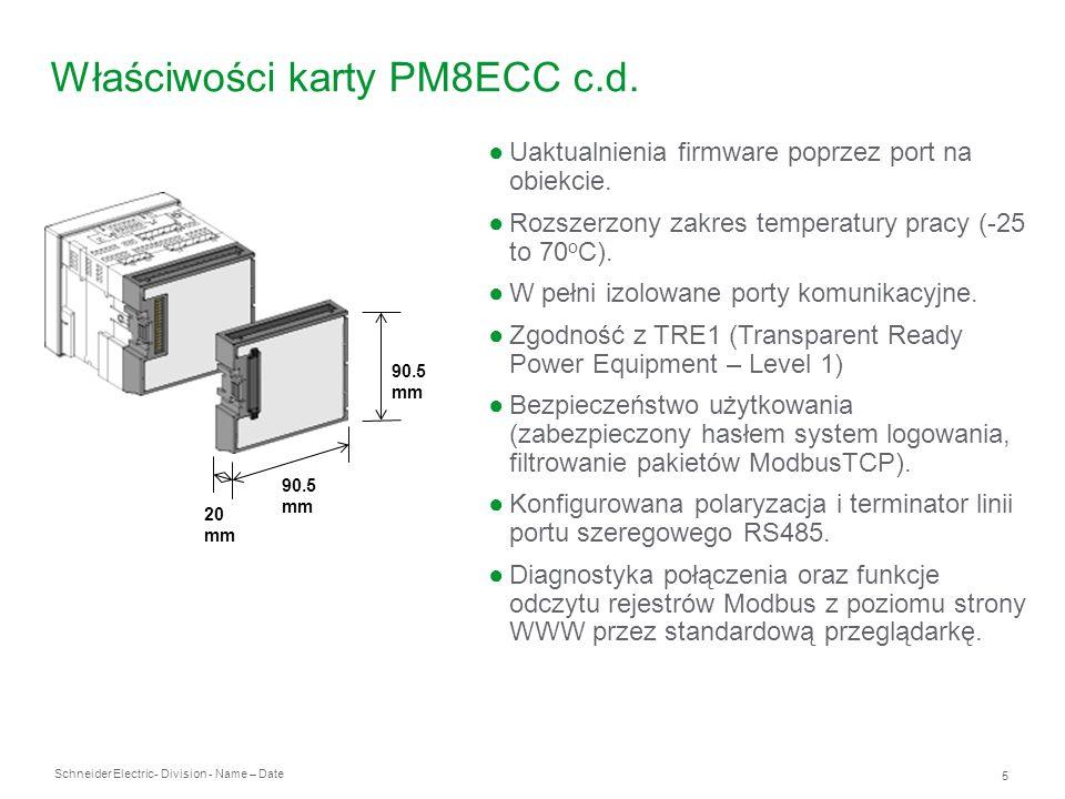 Właściwości karty PM8ECC c.d.