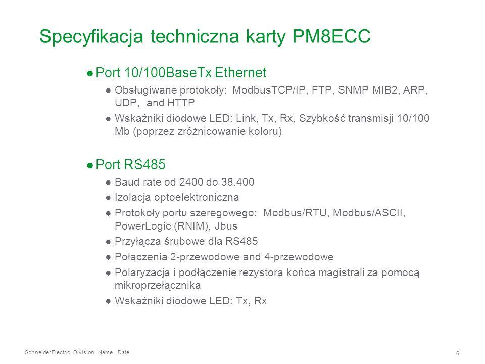 Specyfikacja techniczna karty PM8ECC