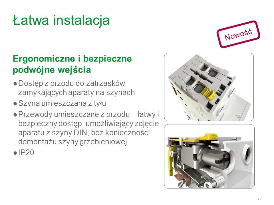 Łatwa instalacja Ergonomiczne i bezpieczne podwójne wejścia Nowość