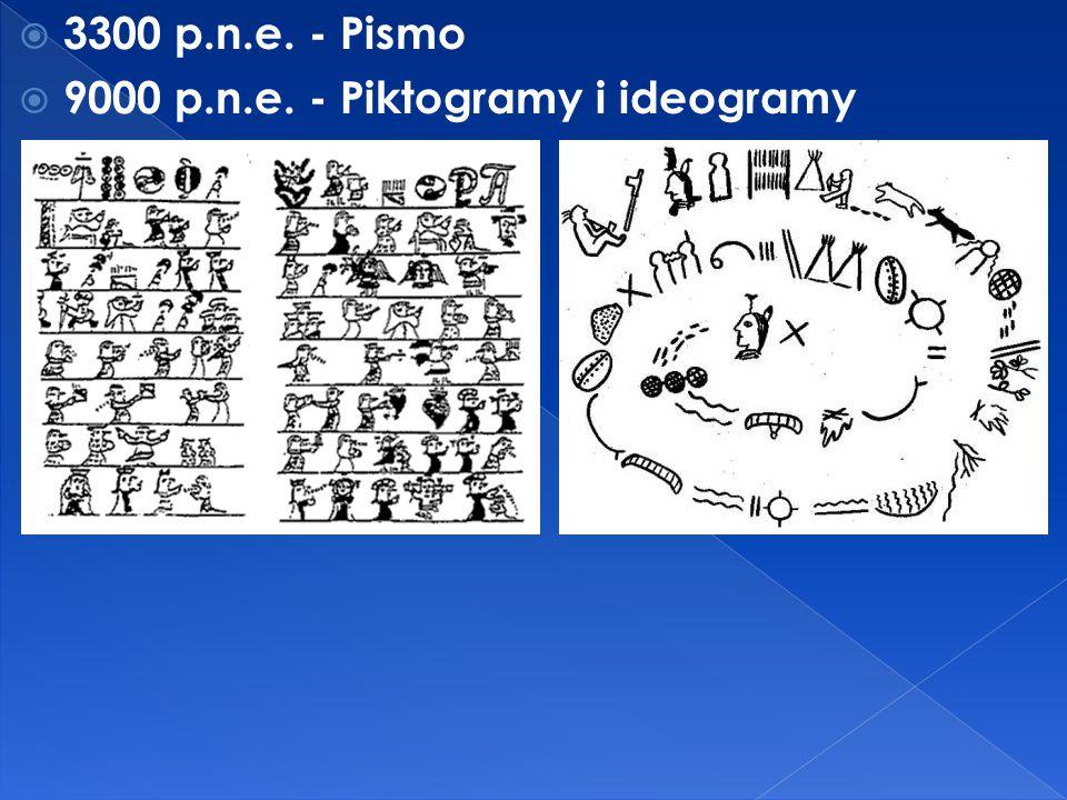 3300 p.n.e. - Pismo 9000 p.n.e. - Piktogramy i ideogramy