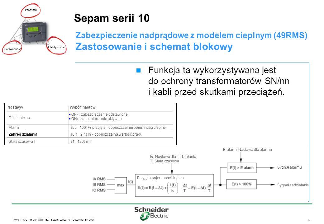 Sepam serii 10 Zastosowanie i schemat blokowy