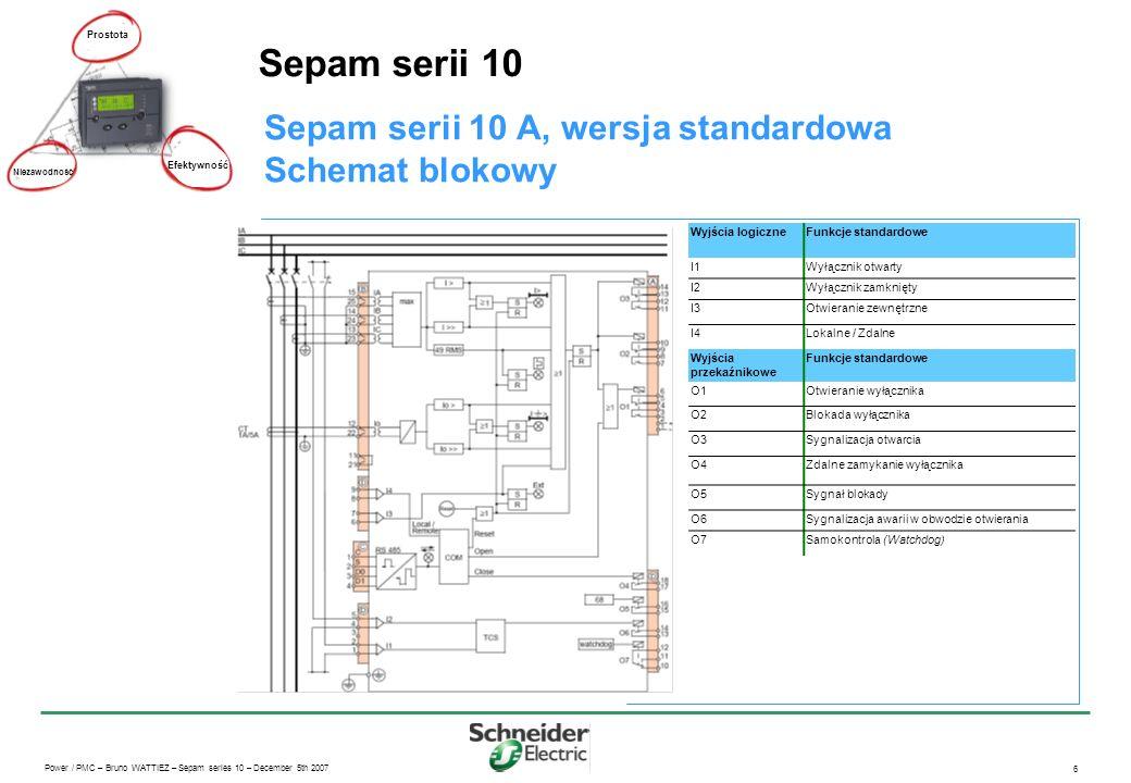 Sepam serii 10 Sepam serii 10 A, wersja standardowa Schemat blokowy