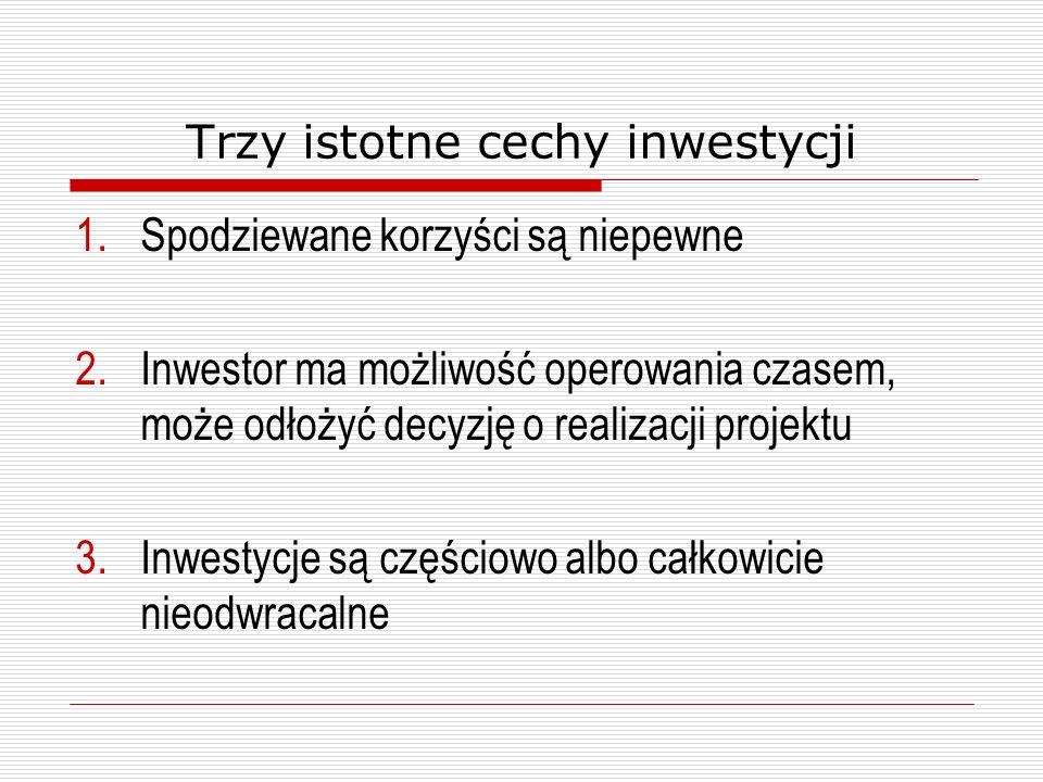 Trzy istotne cechy inwestycji