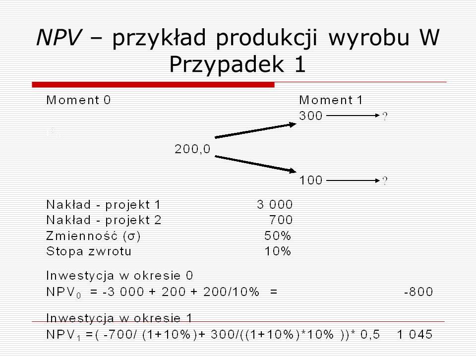 NPV – przykład produkcji wyrobu W Przypadek 1