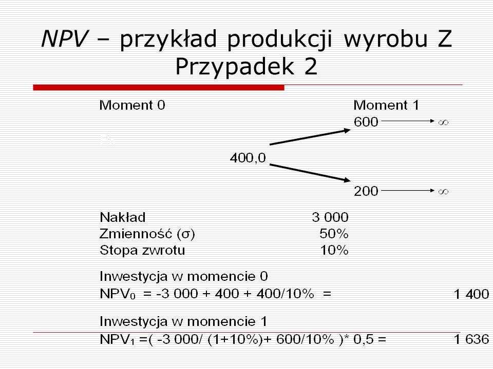 NPV – przykład produkcji wyrobu Z Przypadek 2
