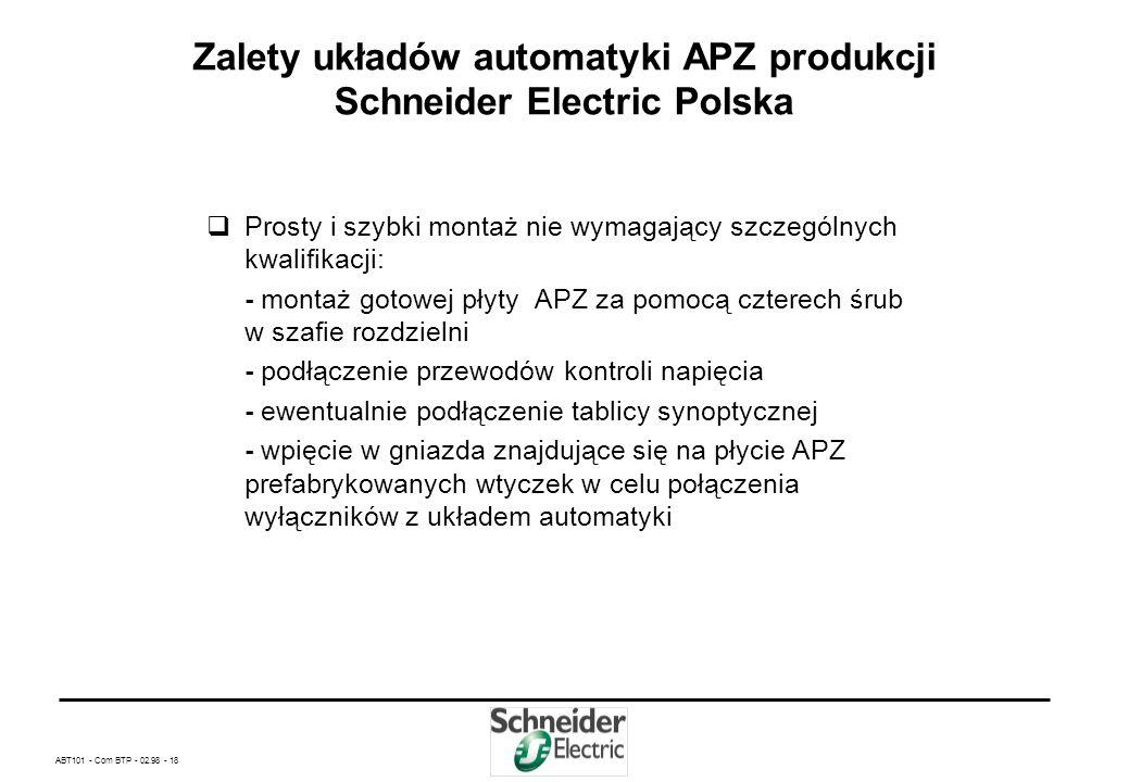 Zalety układów automatyki APZ produkcji Schneider Electric Polska