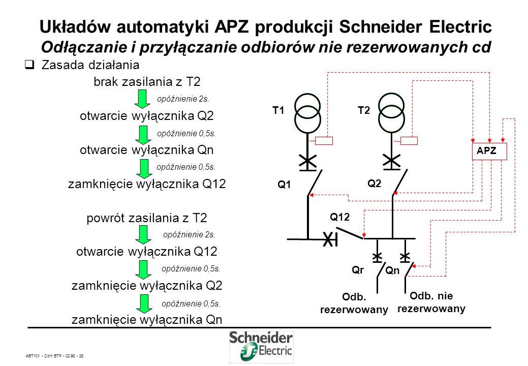 Układów automatyki APZ produkcji Schneider Electric Odłączanie i przyłączanie odbiorów nie rezerwowanych cd