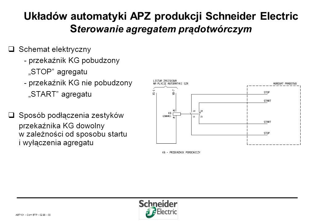 Układów automatyki APZ produkcji Schneider Electric Sterowanie agregatem prądotwórczym