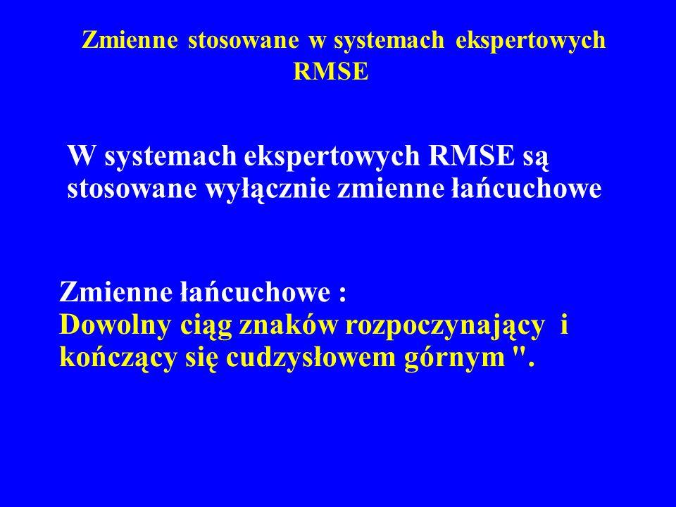 Zmienne stosowane w systemach ekspertowych RMSE