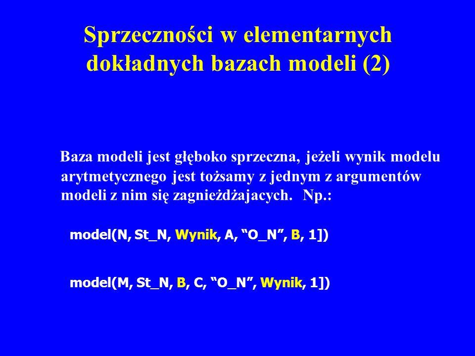 Sprzeczności w elementarnych dokładnych bazach modeli (2)