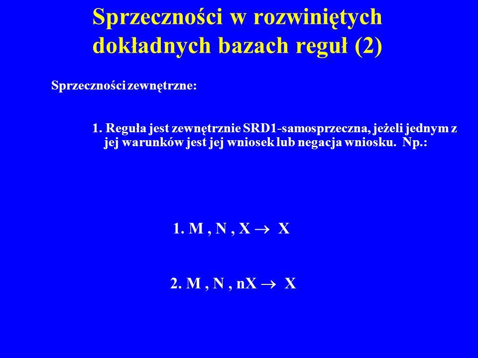 Sprzeczności w rozwiniętych dokładnych bazach reguł (2)