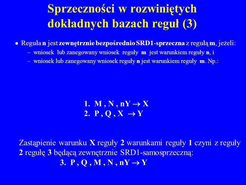 Sprzeczności w rozwiniętych dokładnych bazach reguł (3)