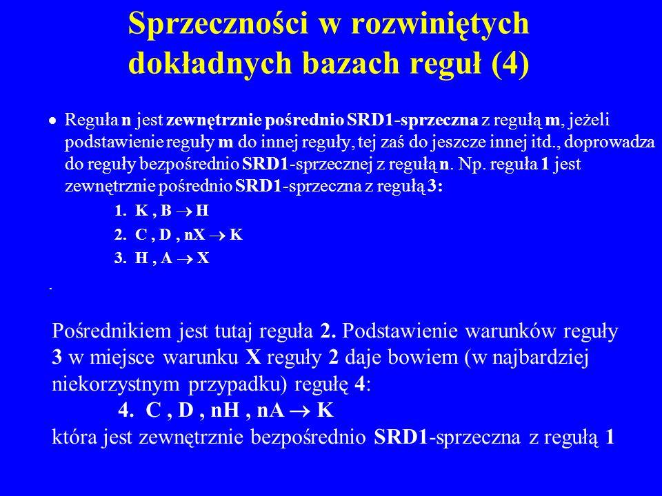 Sprzeczności w rozwiniętych dokładnych bazach reguł (4)