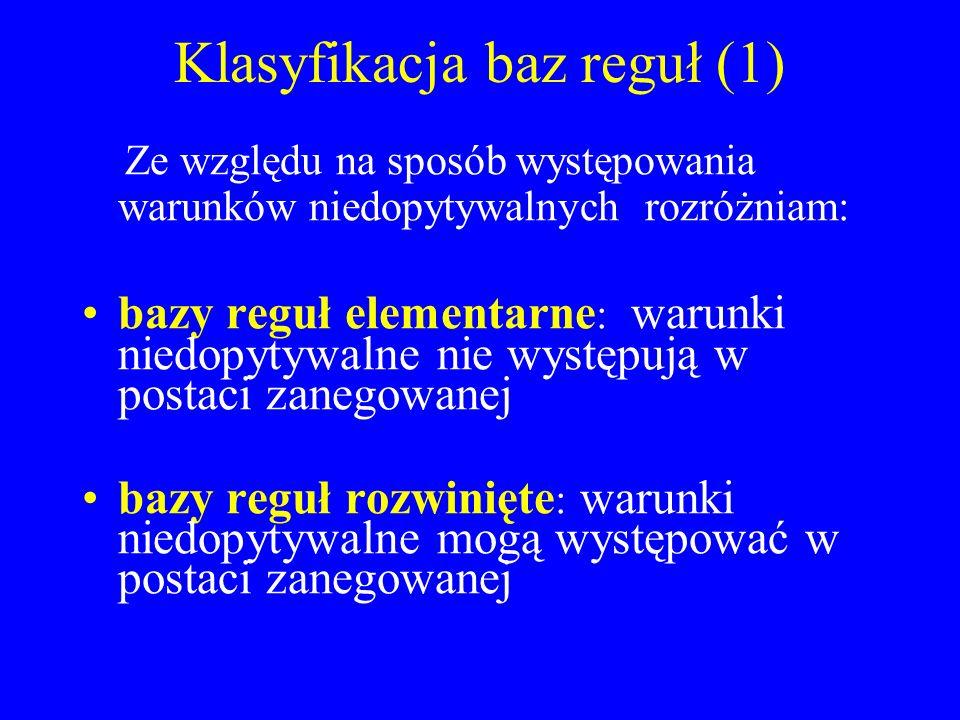 Klasyfikacja baz reguł (1)